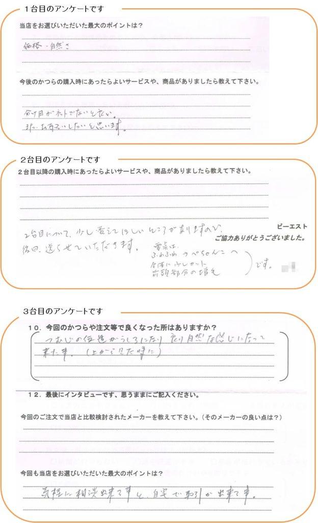 アンケート:岐阜県50代(貼り付けかつら)